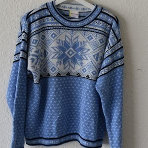 Hanna Andersson blue white black cotton sweater  M